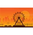 landscape amusement park silhouette style vector image