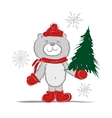Funny santa bear with christmas tree for your vector image vector image
