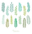 Set of spring green leaves vector image