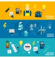 Set of line banner energy generation vector image