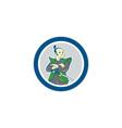 Samurai Warrior Arms Folded Circle Cartoon vector image vector image