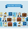 Law icons seamless pattern in flat design style vector image vector image