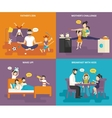 Family with children concept flat icons set vector image
