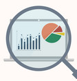 analytics display with magnifier vector image