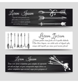 Boho style banners with ethnic arrows vector image