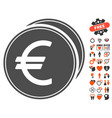 euro coins icon with dating bonus vector image