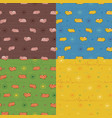 set of seamless patterns with funny pigs vector image