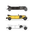 Retro limousine cabriolet car vintage collection vector image