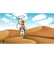 A cowboy with a horse at the desert vector image
