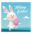 happy easter cute bunny egg decorative blue sky vector image
