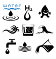 water icons and signs set vector image vector image