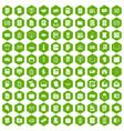 100 document icons hexagon green vector image
