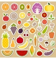 Set of fruits and vegetables vector image vector image