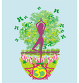 woman in a traditional yoga pose beautiful vector image