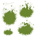 grass rabbits banners vector image vector image