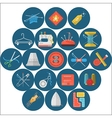 Flat icons collection of sewing items vector image