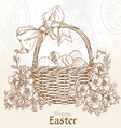 Happy Easter card with a basket of Easter eggs vector image