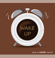 wake up coffee and alarm clock concept vector image