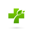 Medical eco logo icon design template with cross vector image