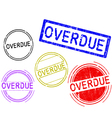 5 Grunge Stamps OVERDUE vector image vector image