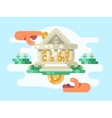 Abstract bank building with coin vector image