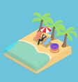 isometric businessman relaxing on the beach vector image