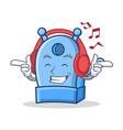 listening music pencil sharpener character cartoon vector image
