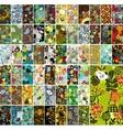 Mega set of vertical cards with floral design vector image