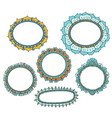 Set of floral doodle frames vector image
