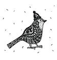 Zentagle robin bird in a Christmas hat graphics vector image