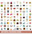 100 hotel training icons set flat style vector image
