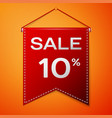 red pennant with inscription sale ten percent vector image