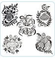 Easter Design - set floral symbols vector image