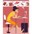 Woman shopping in an online store vector image