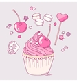Hand drawn cherry cupcake clip art vector image