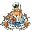 Seafood Grill label design vector image