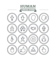 Human linear icons set Thin outline signs vector image
