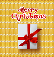 Christmas Greeting Card with gift box vector image
