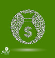 Money bag stylized icon floral banking theme icon vector image vector image