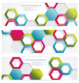 banners with abstract multicolored polygonal vector image