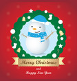 greeting card christmas card with snowman vector image