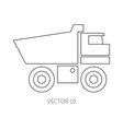 Line flat icon construction machinery - vector image