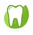Logo combination of tooth on green leafs vector image
