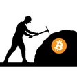 mining bitcoin concept - miner silhouette vector image