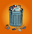 old gadgets in trash can pop art style vector image