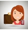 woman bag travel passport vector image