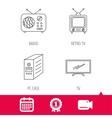 Retro TV radio and PC case icons vector image