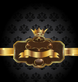 Vintage golden emblem on black floral background vector image vector image