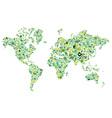 Go green hands World map vector image vector image