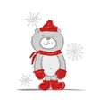 Funny santa bear for your design vector image vector image